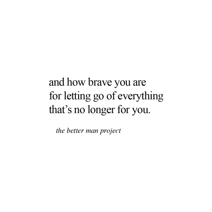 and how brave you are for letting go of everything that's no longer for you. evan sanders, the better man project, quotes