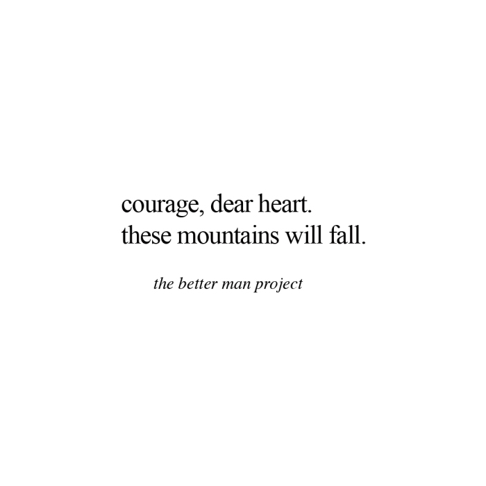 courage, dear heart. these mountains will fall. evan sanders the better man project quote